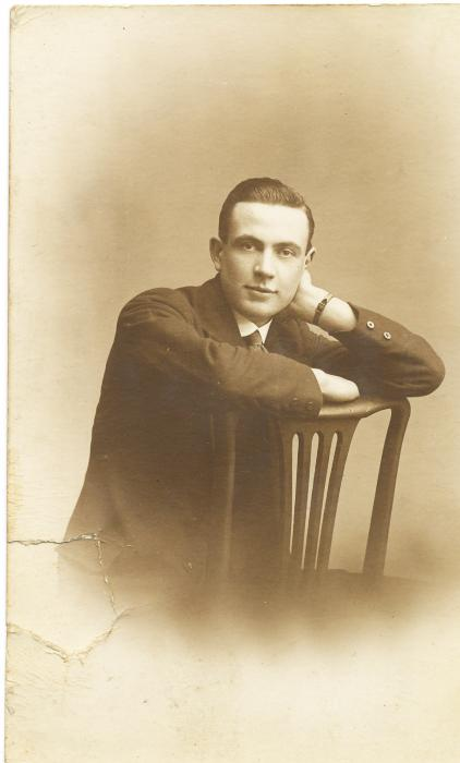 ADX/375/10 Studio photograph of a man in civilian dress, 18 June 1918