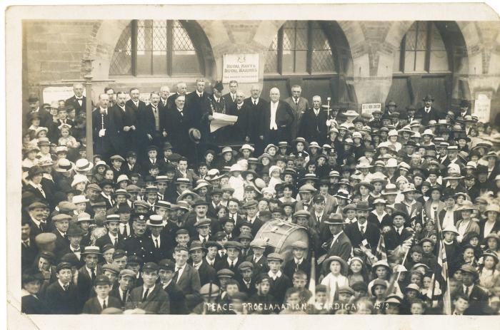 ADX/375/12 Photograph labelled �Peace proclamation, Cardigan, 1919�
