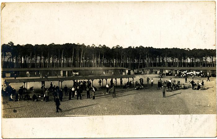 ADX/375/14 Postcard of a prisoner of war camp near Altdamm, Germany, where Sergeant Major Harton Davies of Cardigan was held, 1918