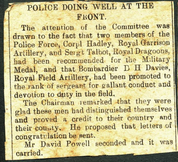 ADX/375/21/5 Newspaper cutting mentioning members of the Police Force (fighting in the war, and Daniel Harton Davies who was a policeman's son and joined the police force himself. He eventually attained the rank of Police Inspector