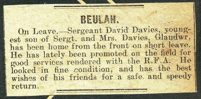 ADX/375/21/7 Newspaper cutting with local Beulah news about Sgt. David Davies being home on leave from the front