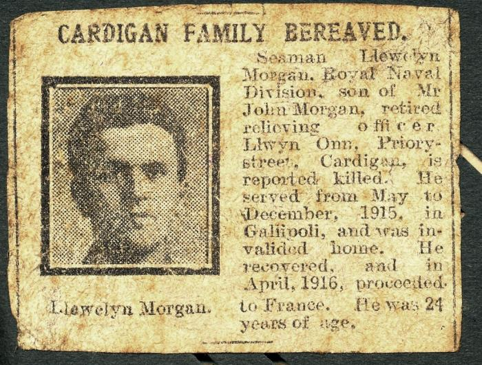 ADX/375/21/8 Newpaper cutting about the death in the war of Seaman Llewelyn Morgan of Cardigan.