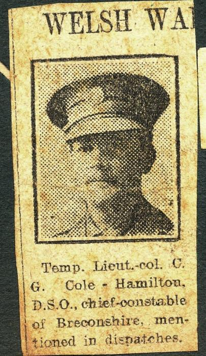 ADX/375/21/9 Newspaper cutting about Lt. Col. Cole-Hamolton, Chief Constable of Breconshire, being mentioned in dispatches