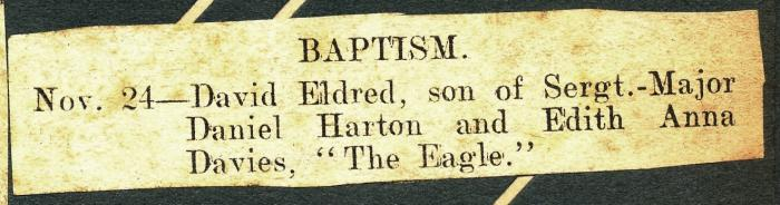ADX/375/21/10 Newspaper cutting: announcement of the baptism of David Eldred, son of Daniel and Edyth.