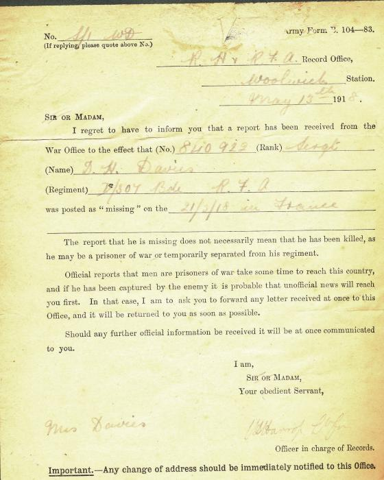 ADX/375/23 Official notification form sent to Mrs G. Davies, The Eagle, Castle Street, Cardigan, stating that her husband, D. H. Davies has been reported missing in action. 16 Feburary 1918