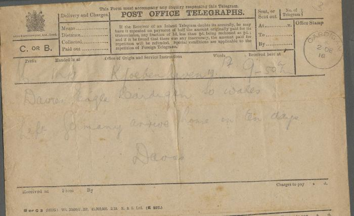 ADX/375/25 Telegram to Mrs. Davies from Sgt. D. H. Davies, sent from Copenhagen, saying �Left Germany arrive home in ten days�. 2 December 1918