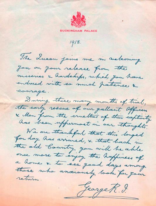 ADX/375/28 Letter from the King welcoming the soldiers home. 1918
