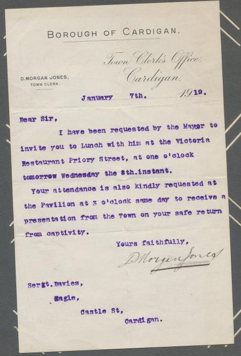 ADX/375/29 Letter from the Town Clerk, Cardigan, inviting Sgt. D. H. Davies to lunch with the mayor to be followed by a presentation on his safe return from captivity. 7 January 1919