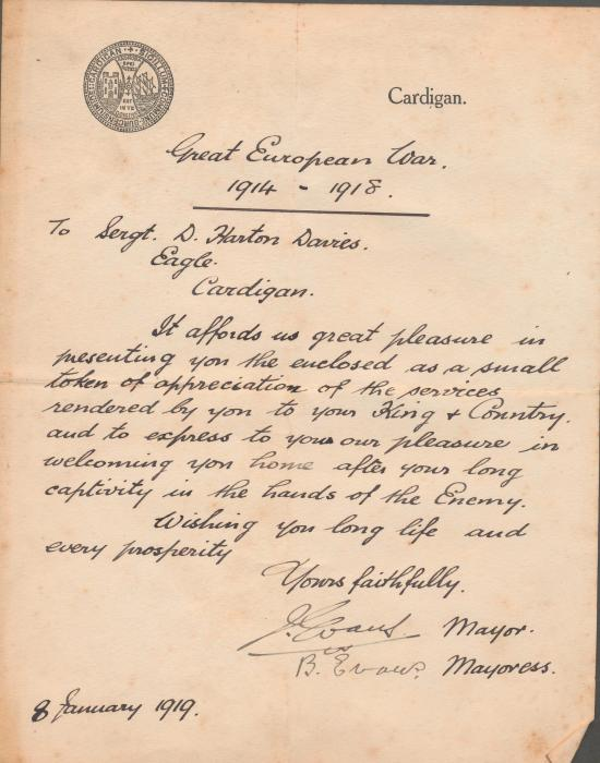 ADX/375/30 Letter from the mayor and mayoress of Cardigan, welcoming Sgt. D. H. Davies home. 8 January 1919