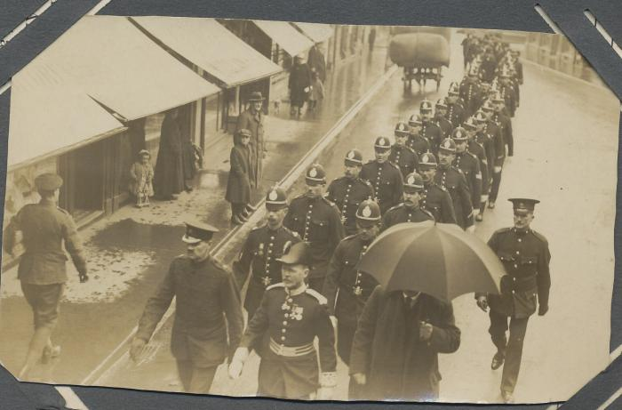 ADX/375/32 A police/military procession through ?Cardigan, c. 1919