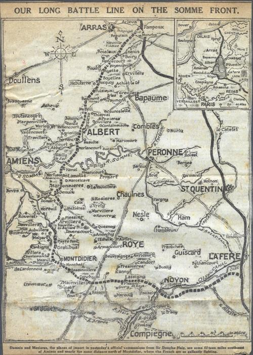 ADX/375/33 Newspaper cutting showing a map of the battle line at the Somme. c. 1916