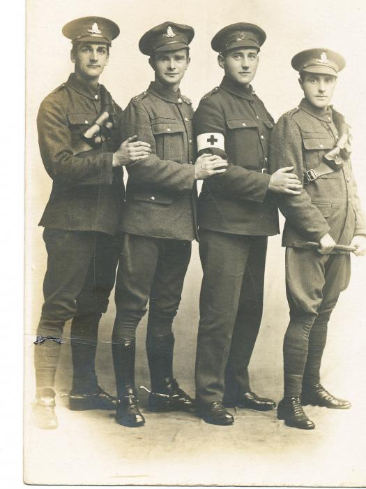 ADX/375/3 Studio photograph of four First World War soldiers in uniform